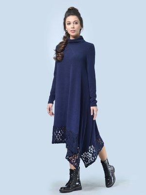 Платье темно-синее с кружевом | 3724322