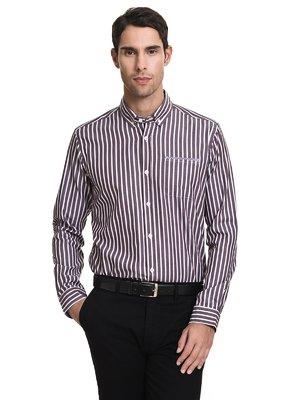 Рубашка коричневая в полоску | 3781380
