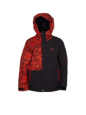 Куртка оранжево-чорна в принт | 3784437