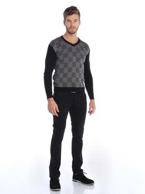 Пуловер черный в клетку | 3788488