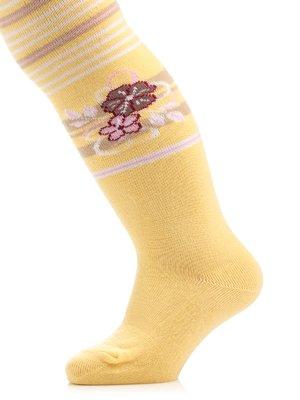 Колготки жовті з принтом | 3750432