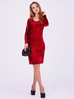 Платье бордового цвета велюровое | 3793423