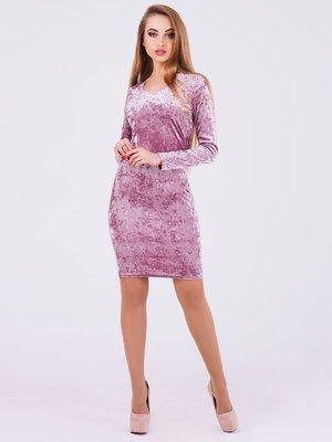 Платье пудрового цвета велюровое | 3793424
