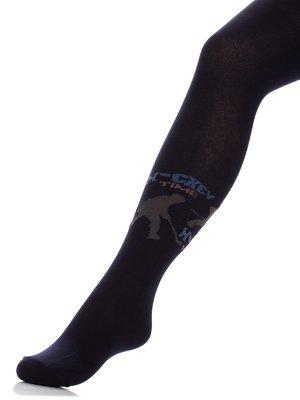 Колготки темно-сині з принтом | 3750479