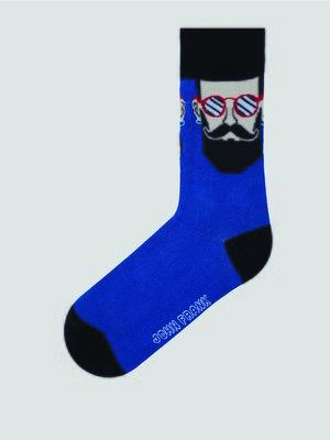 Носки синие с рисунком | 3796791