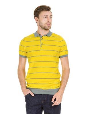 Футболка-поло жовта в смужку | 3801707