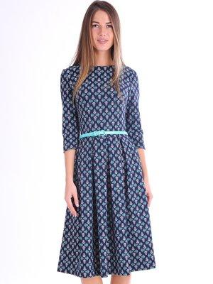 Платье синее в принт | 3801796