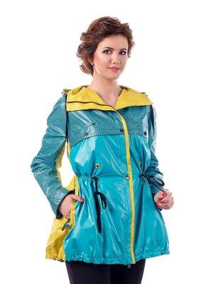 Куртка бірюзово-жовта в клітинку | 3810582