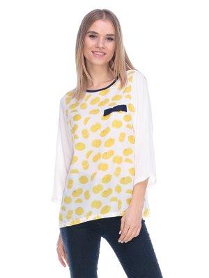 Блуза белая в принт | 3800454