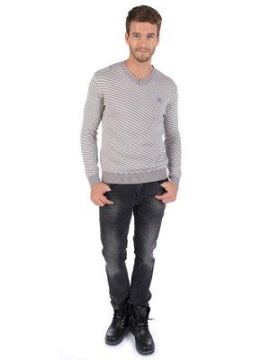 Пуловер сірий в смужку | 3815996