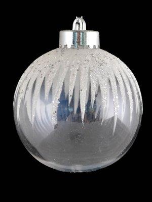 Куля засніжена з глітером (8 см) | 3826455