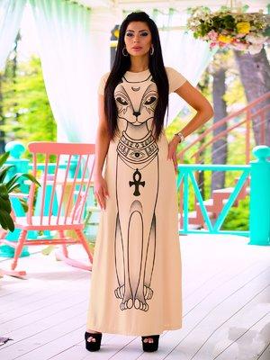 Платье бежевое с принтом | 1712992