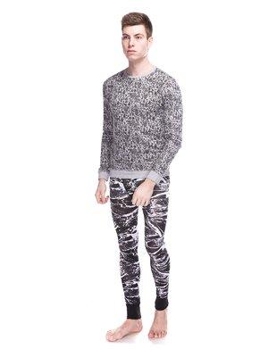 Джемпер серый в принт пижамный | 3644905