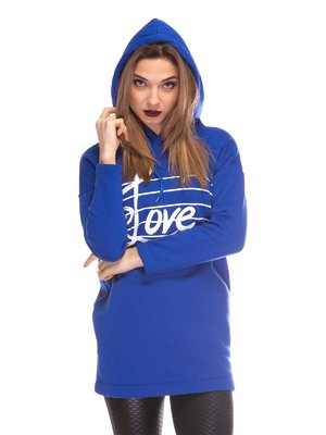 Сукня-туніка кольору електрик з принтом | 3844668
