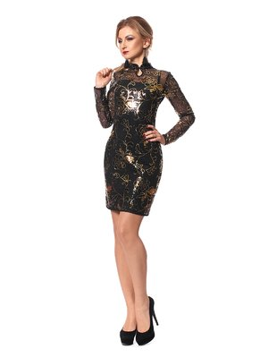 Сукня чорно-золотиста з декором | 3859252