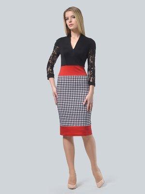 Платье черное в гусиную лапку | 3736024