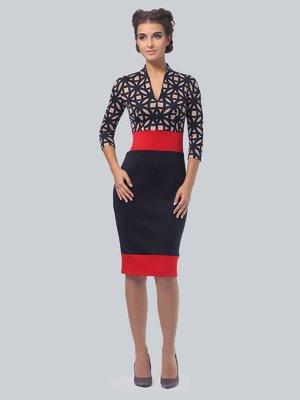 Платье трехцветное в принт | 3828041