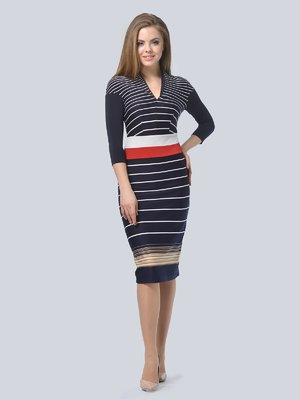 Платье темно-синее в полоску | 3840415