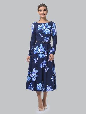 Платье темно-синее в цветочный принт | 3863223