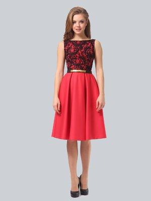 Сукня коралово-чорна | 3863268