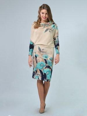 Платье бежевое с цветочным принтом | 3263566