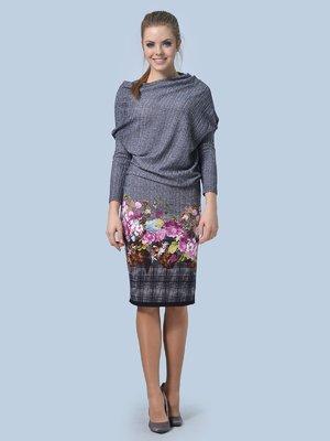 Сукня сіро-чорна з комбінованим принтом | 3263576