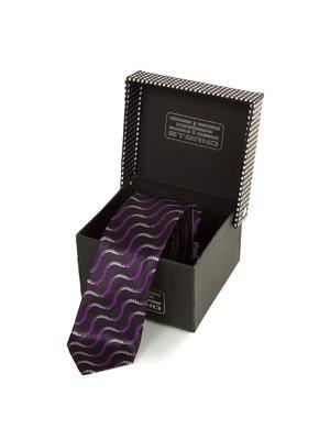 Галстук фиолетовый с абстрактным принтом | 3866479