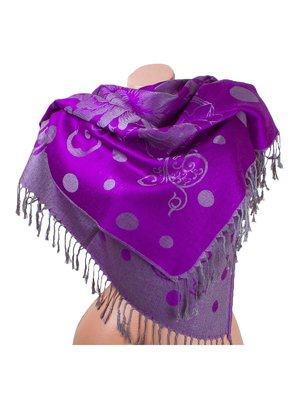 Палантин серо-фиолетовый с принтом двусторонний | 3866590