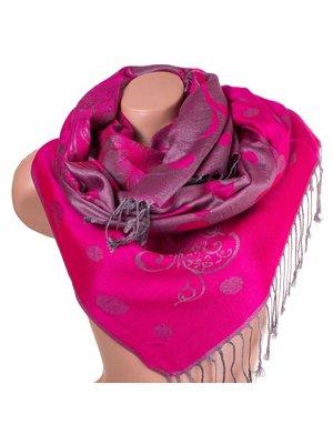 Палантин сіро-рожевий з принтом двосторонній   3866591