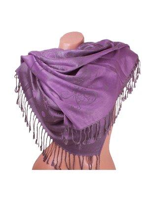 Палантин серо-фиолетовый с принтом двусторонний   3866598