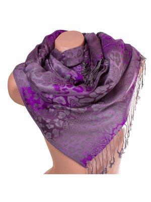 Палантин сіро-фіолетовий з принтом двосторонній   3866607