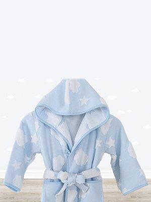 Халат блакитний в принт | 3865791