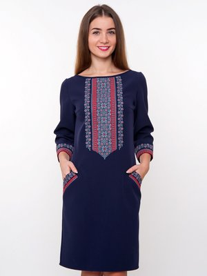 Сукня темно-синя з вишивкою | 3866996