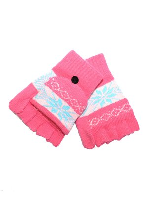 Перчатки-трансформеры розовые подростковые | 3866173