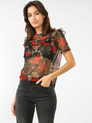 Блуза черная с цветочным принтом | 3861836