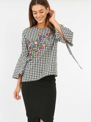 Блуза в клетку с вышивкой | 3861870