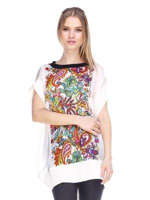 Блуза белая с принтом | 3858880