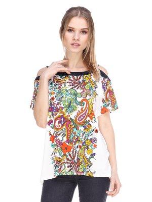Блуза белая с принтом | 3858867
