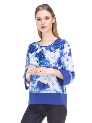 Блуза синяя в цветочный принт | 3858922