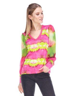 Блуза розово-салатовая | 3858888