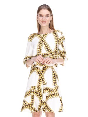Платье белое в принт | 3858951