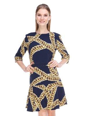 Сукня темно-синя в принт | 3858949