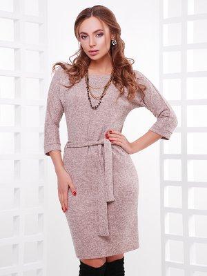 Платье пудрового цвета меланжевое | 3878886