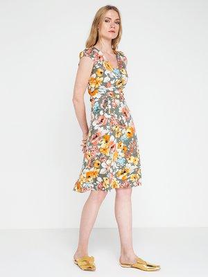 Платье цвета хаки в цветочный принт | 3646706