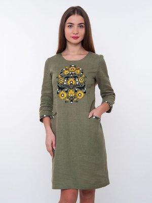 Сукня оливкового кольору з вишивкою | 3238459
