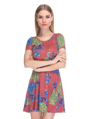 Сукня бордова з квітковим принтом | 3898691