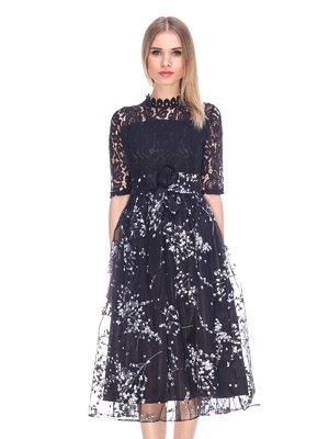 Платье черное с вышивкой | 3764641