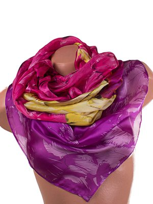 Шарф-парео рожево-фіолетовий з принтом атласний   3876962
