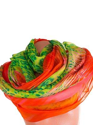 Шарф зелено-оранжевый с анималистическим принтом | 3876972