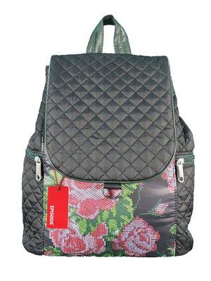 Рюкзак черный в цветочный принт | 3901879